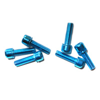 Headstem Bolt Set M5 x 18mm Plated Stainless Steel (6 pieces) Blue
