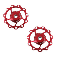 Jockey Wheel Shimano/Sram (pair) 11T T7075 4/5/6mm Sealed Bearing Meroca Red