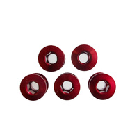 Chainring Bolt Set Double 5.0mm  Alloy Red TL-405B