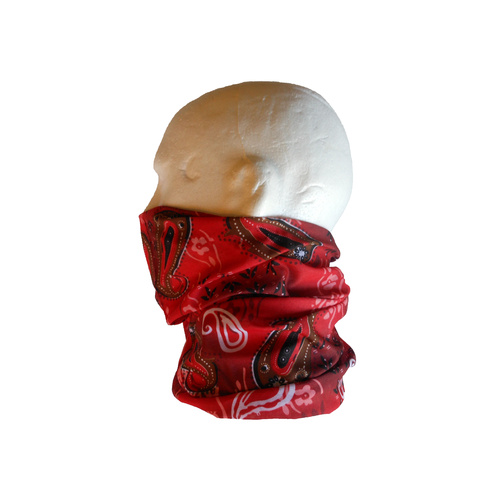 Neck/Face Non-Thermal Tube Bandana Polyester Paisley Red